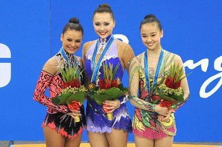 podium individual all-around gold in rhythmic gymnastics
